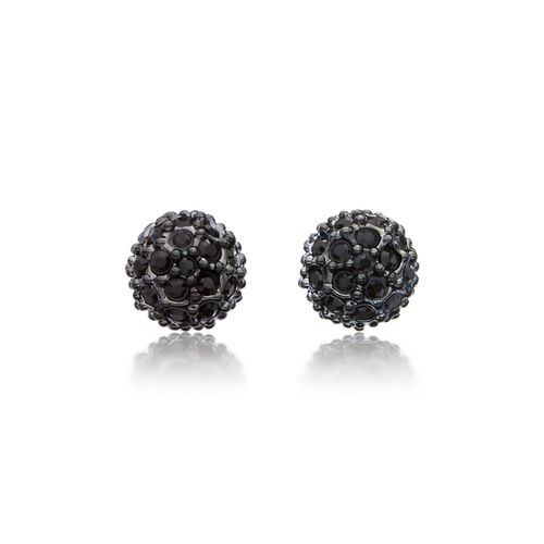 Emma Pave Crystal Ball Earrings with Swarovski® Crystals Gun Metal Plated
