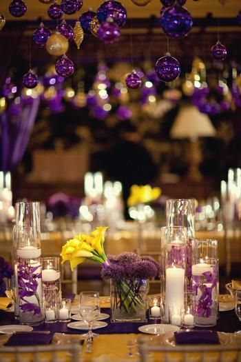 Déco table mariage jaune et violette