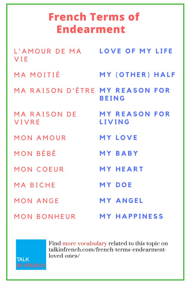 Now you can show love and affection to your dear ones with French terms of endearment + download the list in PDF format for free! Check it out at: https://www.talkinfrench.com/french-terms-endearment-loved-ones/