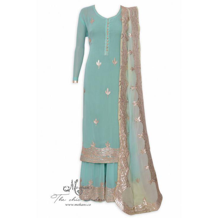 Elegant aqua green semi stitched sharara suit adorn in gota work-Mohan's the chic window