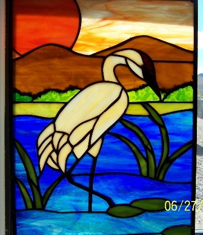 Sand hill Crane at sunrise-stained glass panel