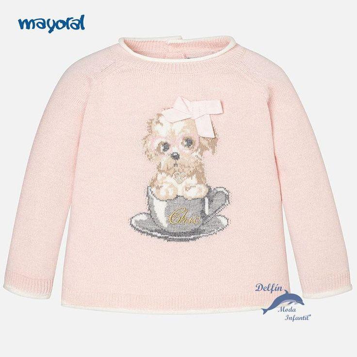 Jersey de bebe para niña MAYORAL perrito color rosa