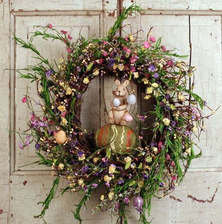 Dazzling Easter Wreath with Brown Twig Wreath Decorated with Mini Multi-color Flowers and Green Leaves and Artificial Bunny and Eggs