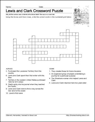 Lewis and Clark Worksheets and Coloring Pages: Lewis and Clark Crossword Puzzle