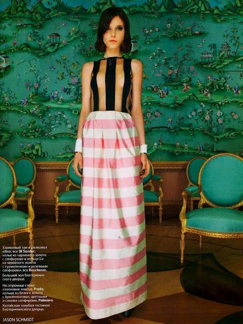 amazing chinoiserie with pink striped dress.  hot pink and green.