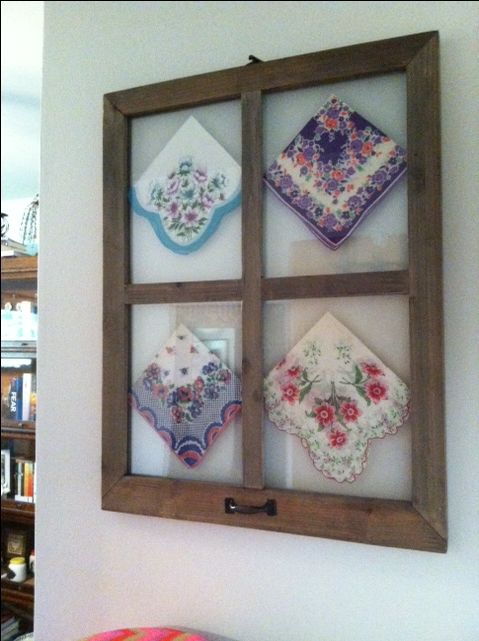 Old hankies in window frame