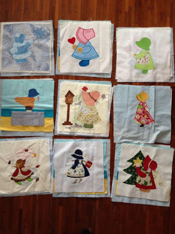 Nasze 9 Sunbonnet Sue : Ola, Marta, Ania, Joasia, Ala, Ewa, Małgosia, Sylwia i ja, czyli Małgosia