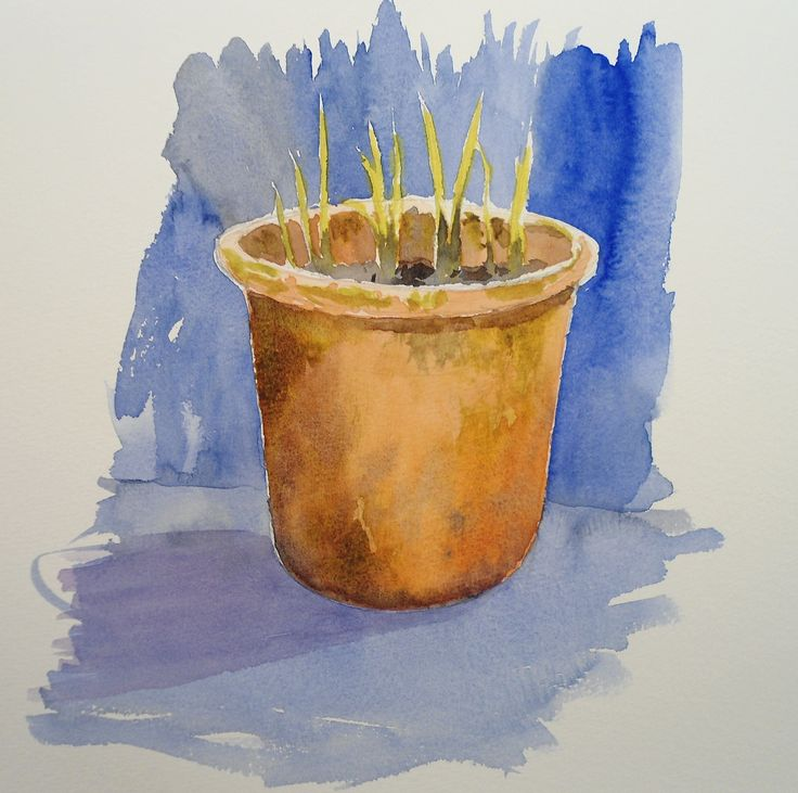 Terracotta Pot Sill Life in #watercolours by Rob Dudley coming soon to ArtTutor.com