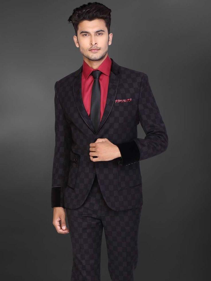 Чёрный мужской костюм-двойка   красная рубашка с галстуком