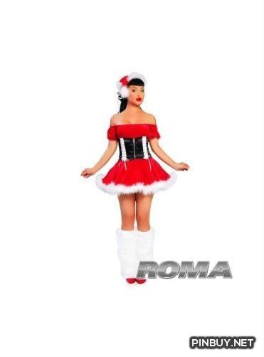 2Pc Santas Helper. Includes Marabou Trimmed Dress And Waist Cincher. Roma Costume - PinBuy