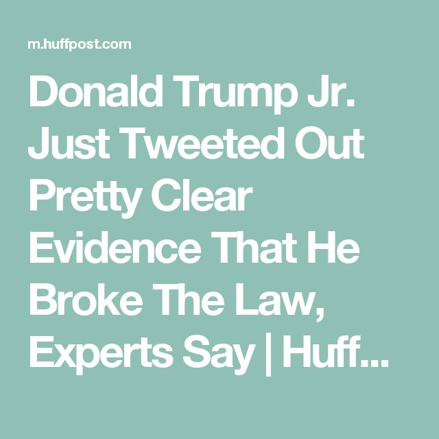 Donald Trump Jr. Just Tweeted Out Pretty Clear Evidence That He Broke The Law, Experts Say | HuffPost