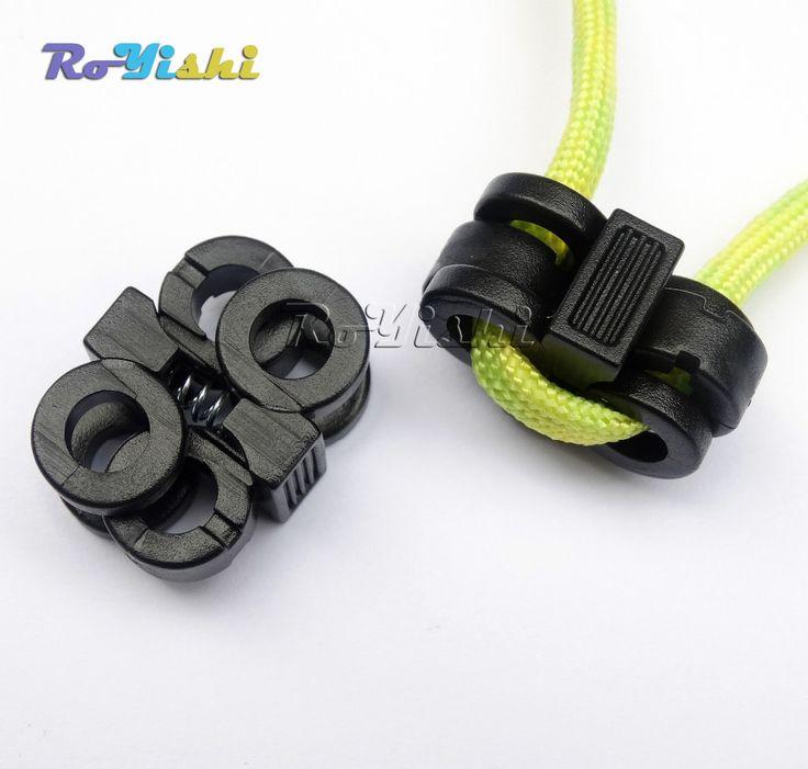 100 unids/pack 2 Agujero 5.7mm Cordón Hebillas de Cerraduras de la Cuerda Tapón de la Palanca De Plástico Negro(China (Mainland))