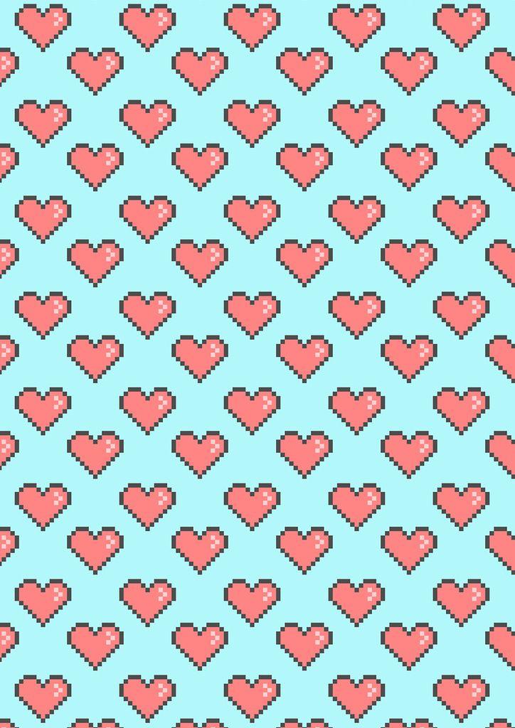 Пиксельные сердечки на голубом фоне.