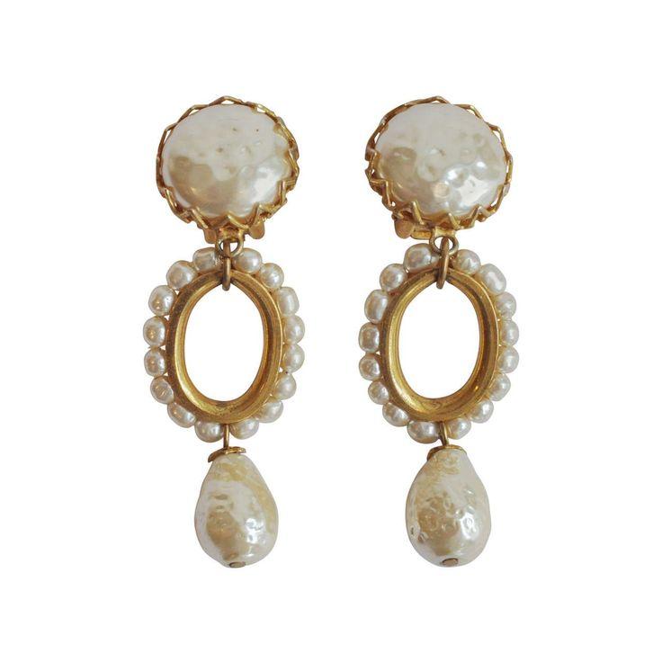 Vintage Cameo Imitation Pearl Drop Earrings (Burn Silver) 5HPqVFqb