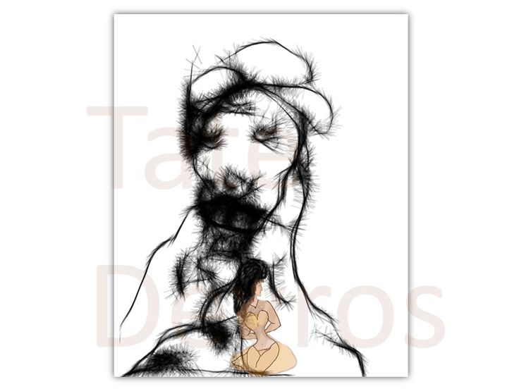 Snow-dog Mountain, an ink paint sketch of a women sitting on the edge by Tate Devros.1024 x 768 pixels.PNg file type.Download, print and display.