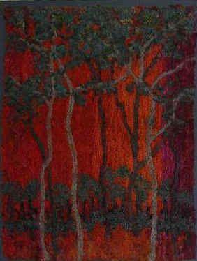 Jan Beaney dark red woods painting