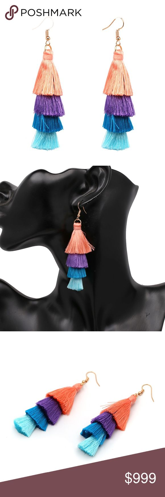 COMING SOON!! Fringe Tassel Statement Earrings Coming Soon!! (Price available upon arrival). Brand new in original packaging. Boho colorful fringe tassel statement earrings perfect for music festival apparel, a coachella necessity, or bring on a tropical vacation! The dangling fan tassels feature peachy coral, purple, cerulean & sky blue colors made of lightweight cotton thread.  Gold tone hook backings.  Multiple colors available! Jewelry Earrings