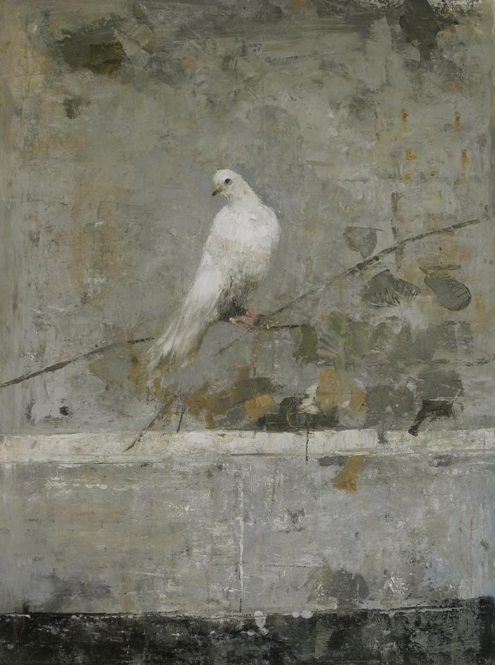 """Bird on Vine"" (oil & wax) by Goxwa, contemporary female artist from Malta, b.1961"