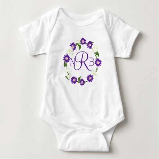 Flower Wreath Monogram Purple Baby Bodysuit