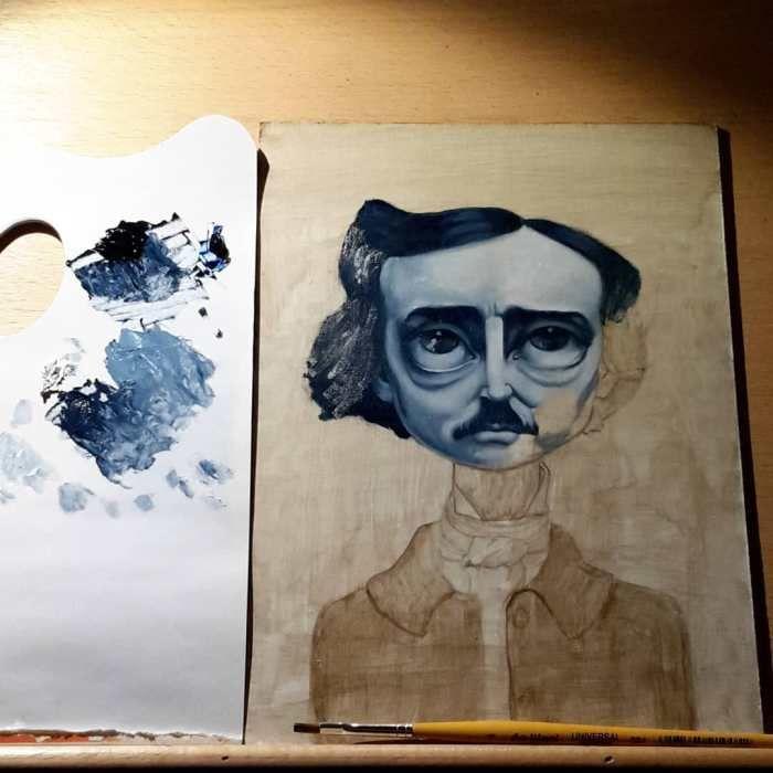 Poe oil panting in progress