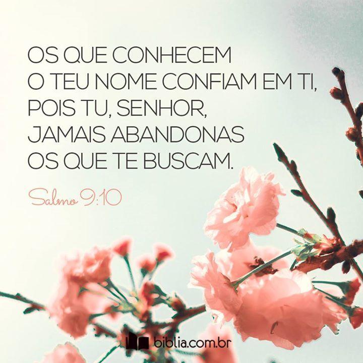 Os que conhecem o Teu nome confiam em Ti, pois tu, Senhor Jamais Abandonas os que te buscam. #Seguros #Amado #Jesus #Senhor #Confiança #Biblia