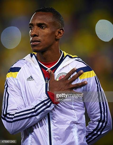 Amaranto Perea of Colombia looks on during the national anthem prior to the International friendly match between Colombia and Tunisia at Cornella el...