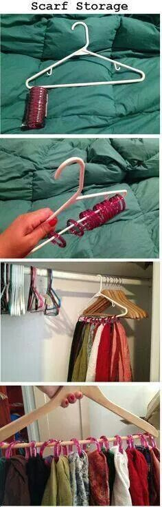 Such a good idea!  I may not be able to do this with my ridiculous scarf collection but maybe with the girls!