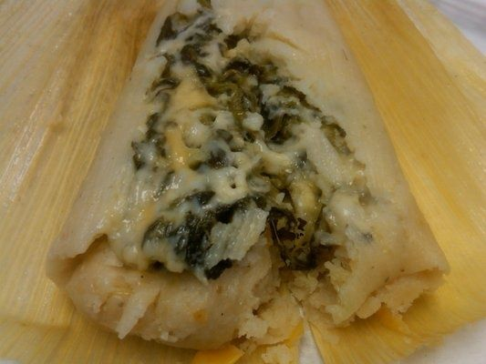 Spinach & Cheese Tamale Ingredients 1/2 TBSP. VEG. OIL 1/2 C. ONION 1/4 IN. DICE 4 C. FRESH SPINACH OR 8 OZ. FROZEN CHOPPED 1 C. COTIJA, ASADERO COLBY OR MONTEREY JACK CHEESE SHREDDED (I MIX ASADERO AND COLBY) SALT AND PEPPER FRESH MASA (IF YOU CAN'T FIND FRESH RICK BAYLISS HAS A GOOD RECIPE) …