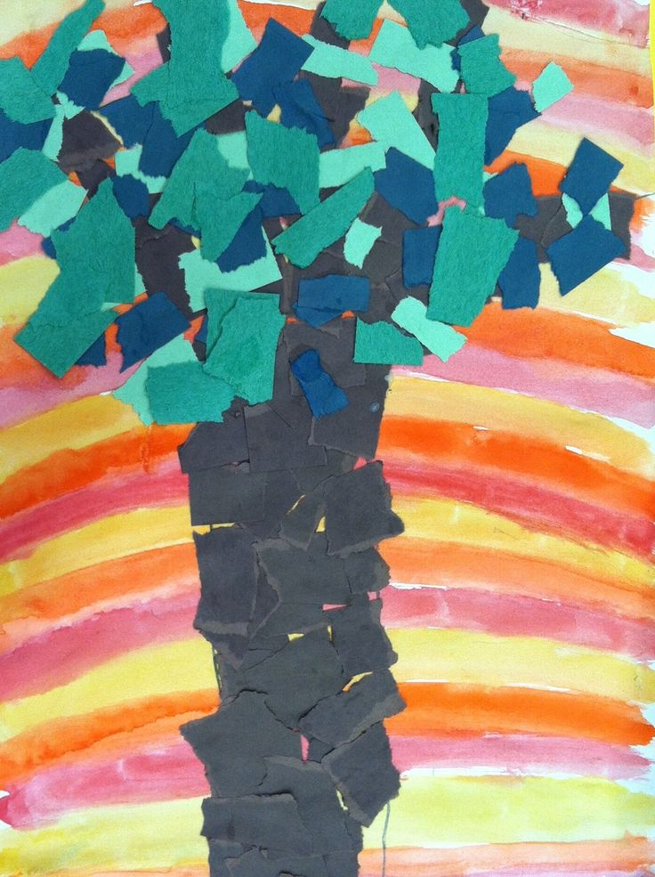 Trees of peace collage inspired by Kenyan environmentalist Wangari Maathai - using warm/cool colors, tints, and shades (kindergarten)