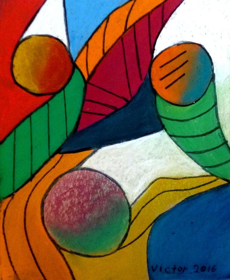 Abstrakt 499, pastell. Abstract 499, pastel.