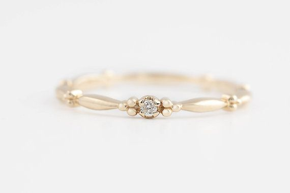 14k gold tiny diamond ring diamond stack ring by EnveroJewelry