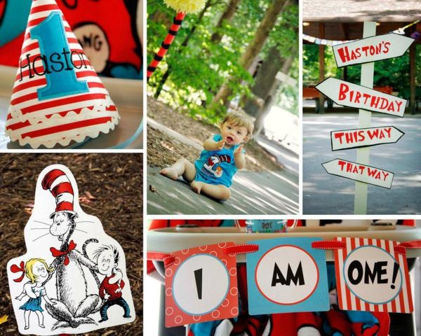 Dr. Seuss Cat in the Hat 1st Birthday Party featured on @Kara Morehouse Morehouse's Party Ideas