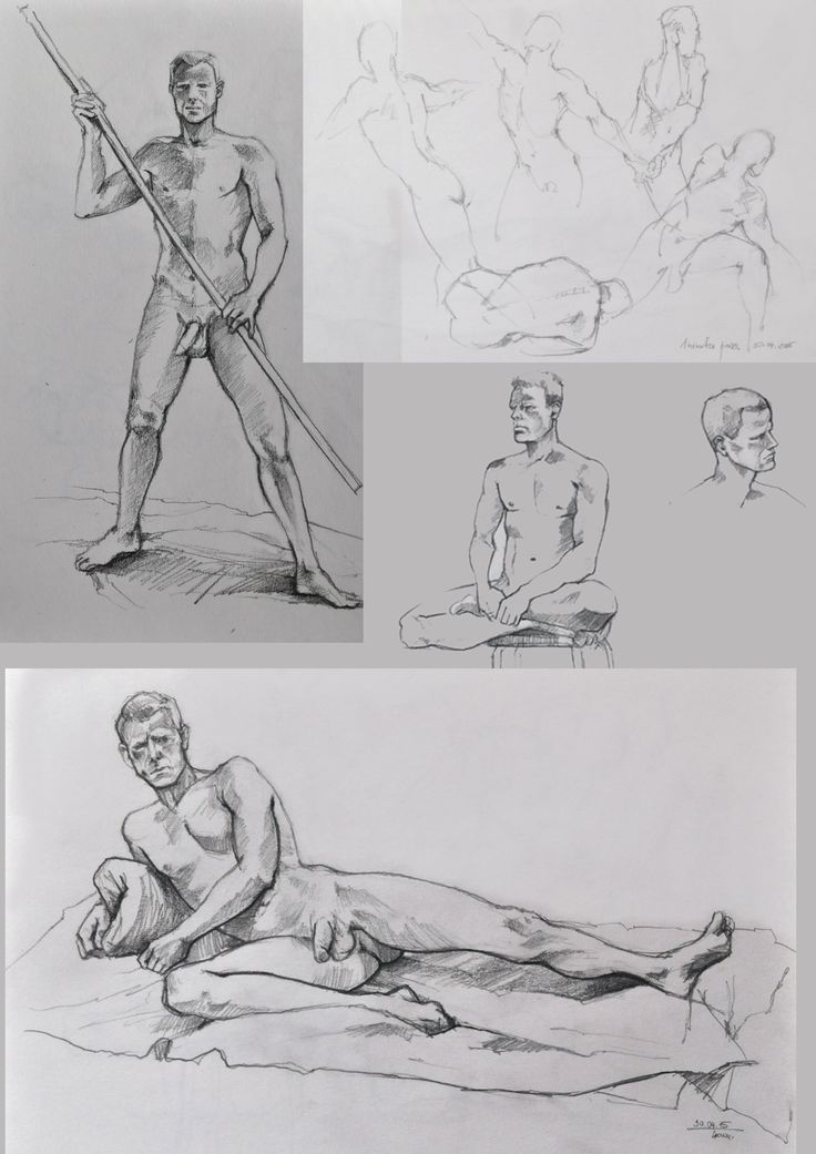 Pencil sketches made during life drawing class