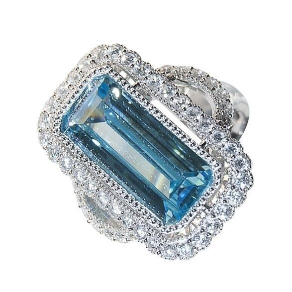 Buy Sterling Silver Ring, Antique Styled, Simulated Blue and White Diamonds Online Australia