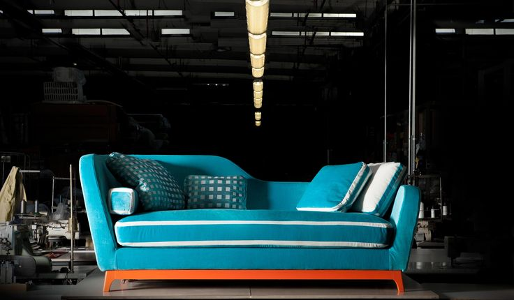 Jeremie Trendy, #design Eric Berthes, made with turquoise fabric, by Designers Guild, with special white details; structure with orange base. www.milanobedding.it