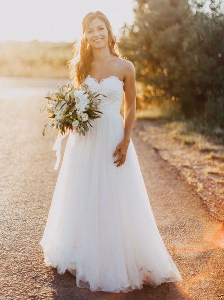 Semplice Senza Spalline Scollatura a cuore Pizzo Svasato/principessa Bianco Tulle Abito da sposa