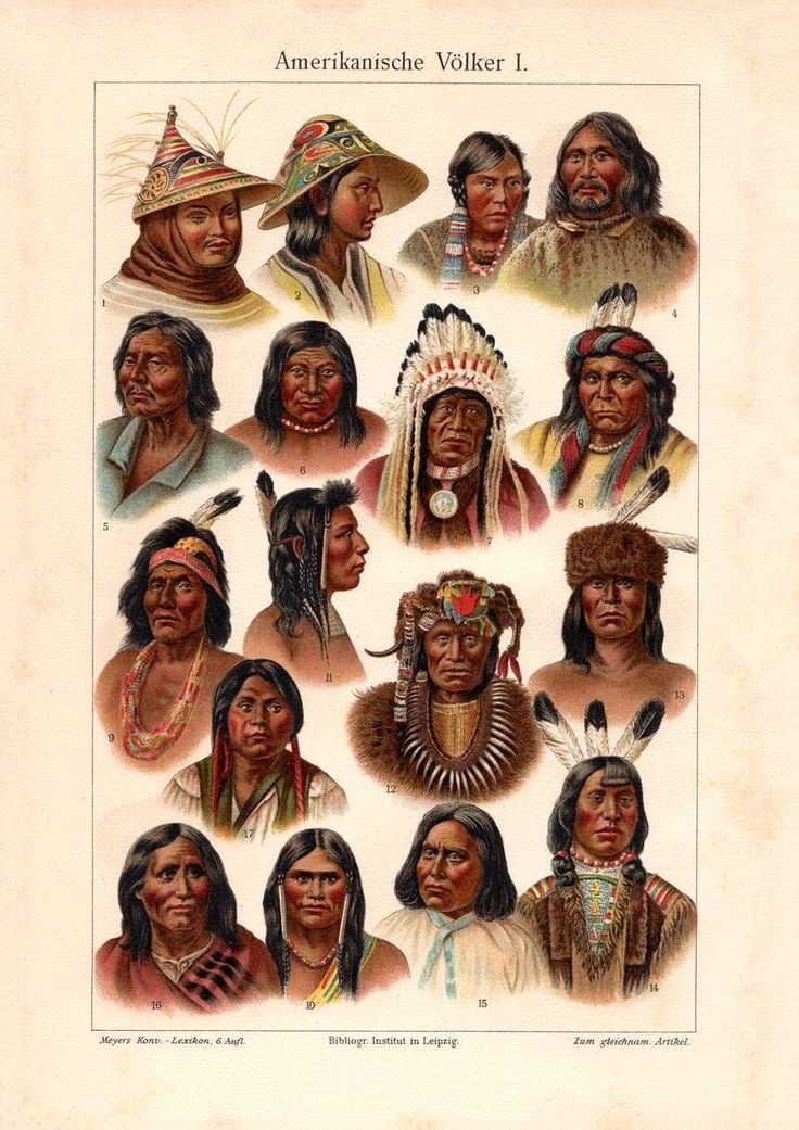 Nuggasak and Tiggianiak appear in the top row, #1 and 2 from the right. Alter historischer Druck Amerikanische Völker I. Chromolithographie 1902 |