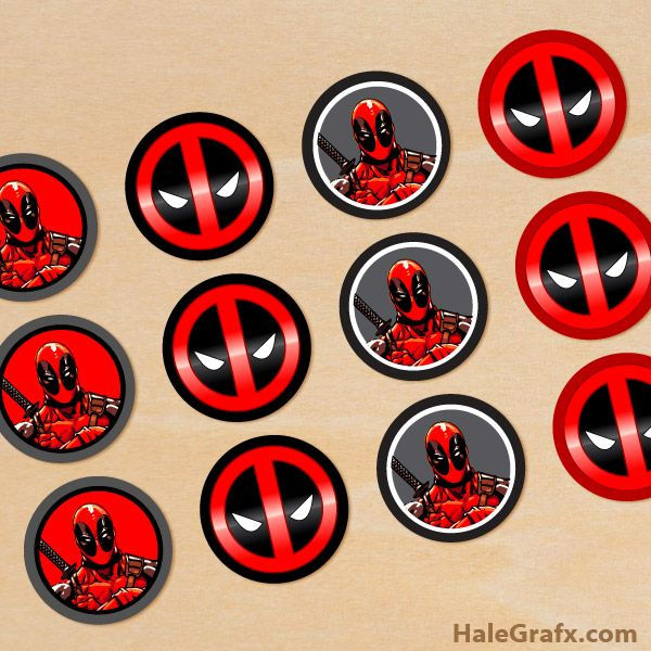 Click here to download FREE Printable Deadpool Cupcake Toppers!