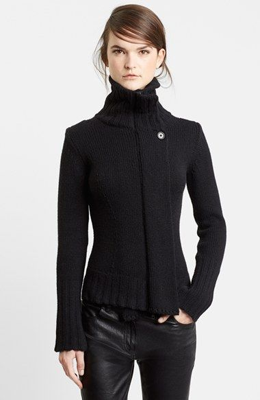Ann Demeulemeester High Neck Chunky Knit Cardigan available at #Nordstrom
