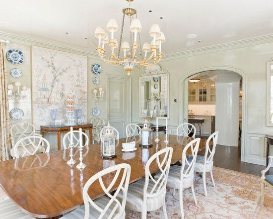 Luxury Formal Traditional Dining Room Completed In White And Wood Accents Combination Decorated With Natural Drawing
