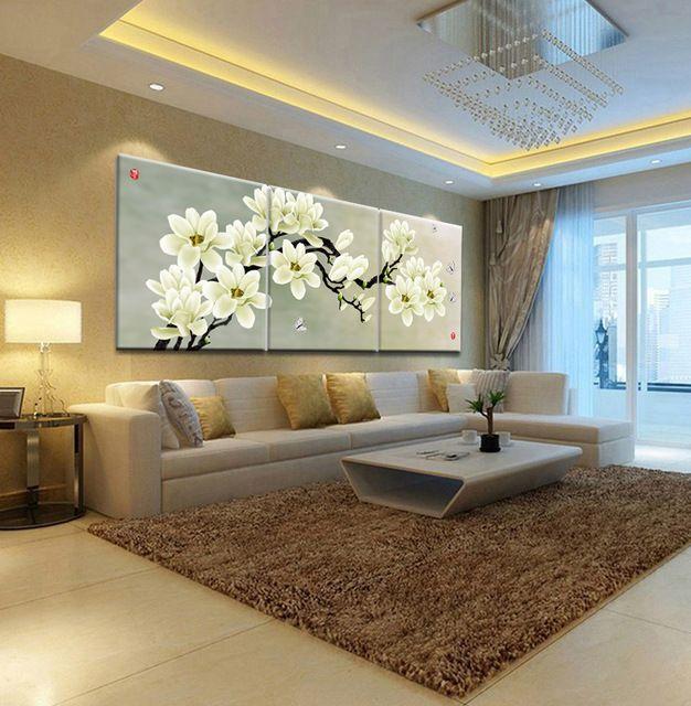 Pintura al óleo restaurante Parede pálido Magnolia decorativos cuadros de tres imágenes combinación de imágenes de impresión en lona ( no Frames )