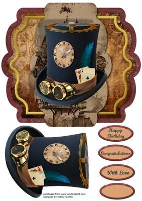 Steampunk Tag Style with Hat on Craftsuprint - Add To Basket!
