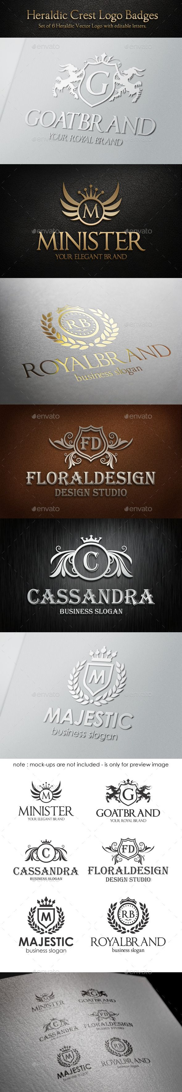 Heraldic Crest Logo Badges Collection – Set of 6 Heraldic Vector Logos with editable letters.  Luxurious Heraldic Coat of Arms – Royal Brand Crest Logos. Classy Elegant Badge Logo Templates. ( All text is editable ). An excellent logo templates highly suitable for Real Estate, Boutique, Leisure business, Luxury restaurant, Sports club, Trading center, Fashion and clothing businesses.