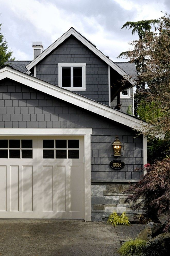 Decorative Garage Doors Craftsman with Traditional Post Lights