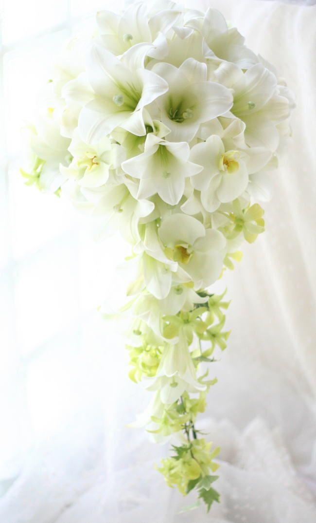 ブーケ キャスケード 鉄砲ユリとレモンブーケ アニヴェルセル表参道様へ : 一会 ウエディングの花
