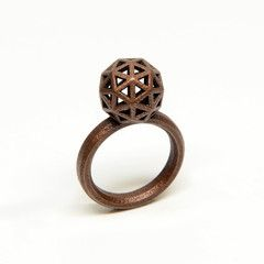 Geodesic Dome ring, 3D printed stainless steel plated in bronze