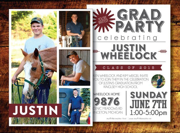 Modern Graduation Card Design for Guys - Maroon & Gray | Open House Invite | Grad Party Invite | Boy's Graduation Invitation | Melissa Marie & Co.
