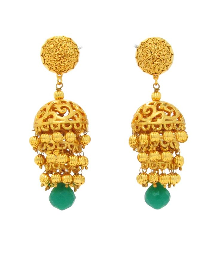 Beautiart Ba-hanging Three Layer Golden Jhumkis With Golden Ball Droppers With A Green Stone Drop, http://www.snapdeal.com/product/beautiart-bahanging-three-layer-golden/61000729