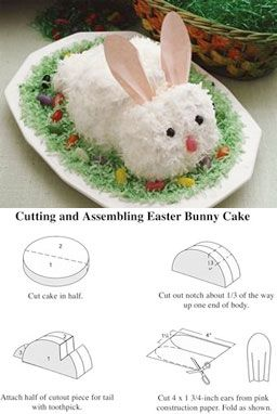Easter bunny cake- Mom and I used to make this when I was little. Brings back suck memories. Maybe I will make some this year for Easter.