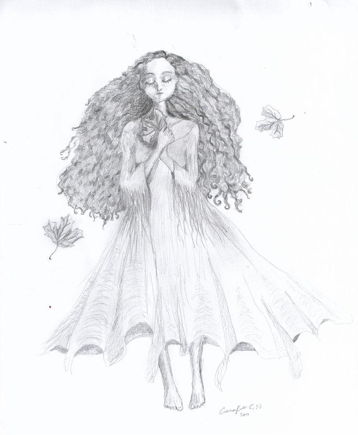 Autumn love - by Caranfinwen   #pencil #leaves #autumn #fall #hair #drawing